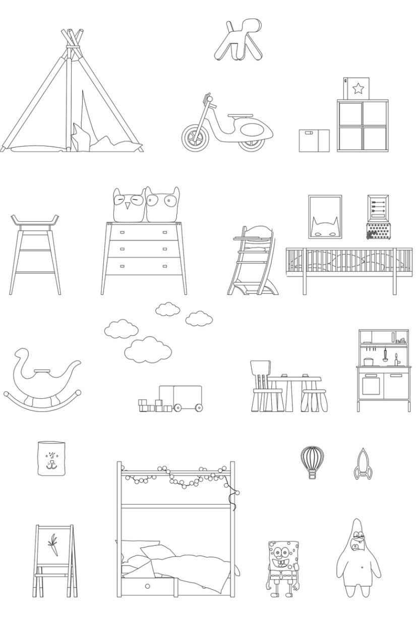 Contemporary Kid S Room Furnitures Dwg Cad Toffu Co