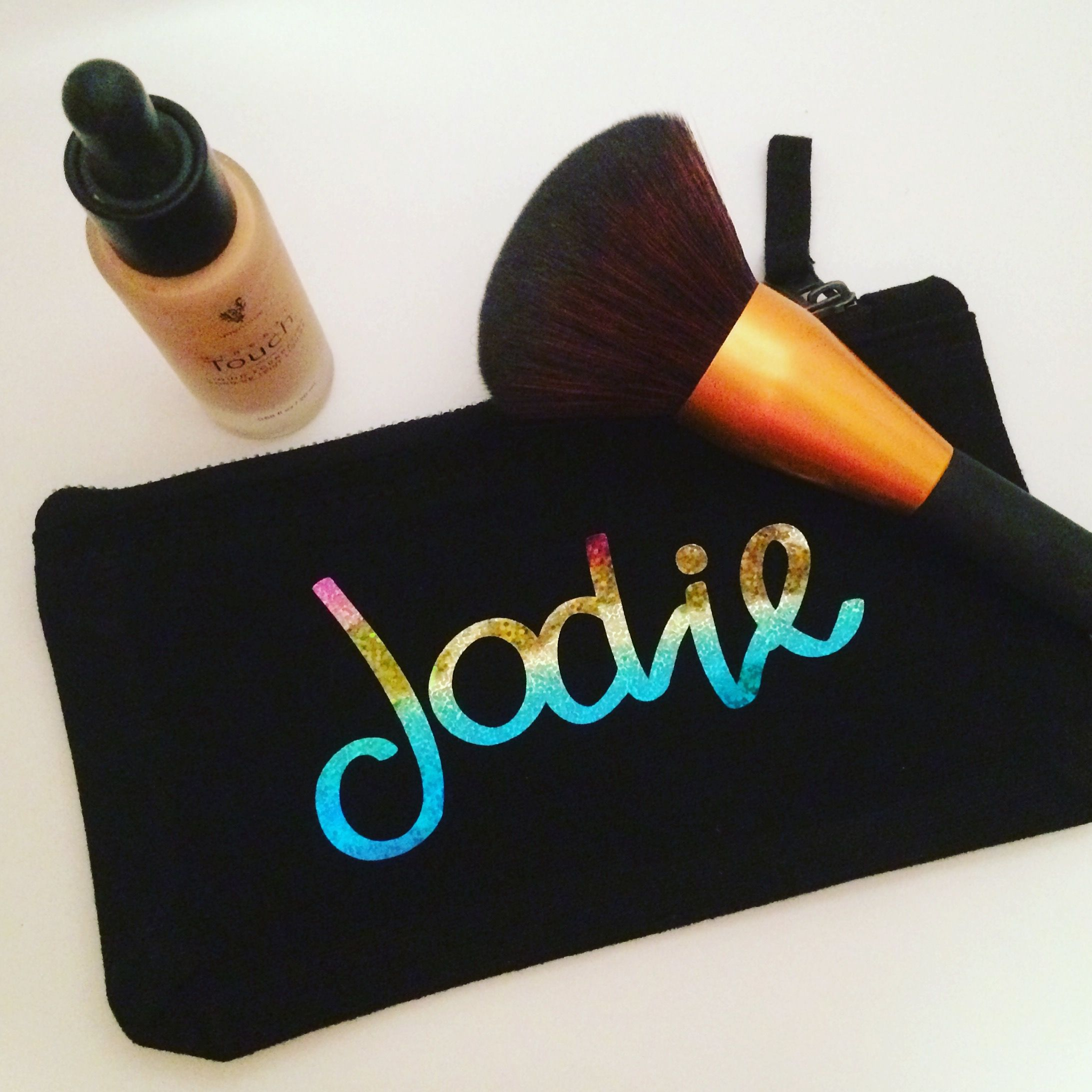 A personalised travel sized makeup bag/ cosmetics bag.