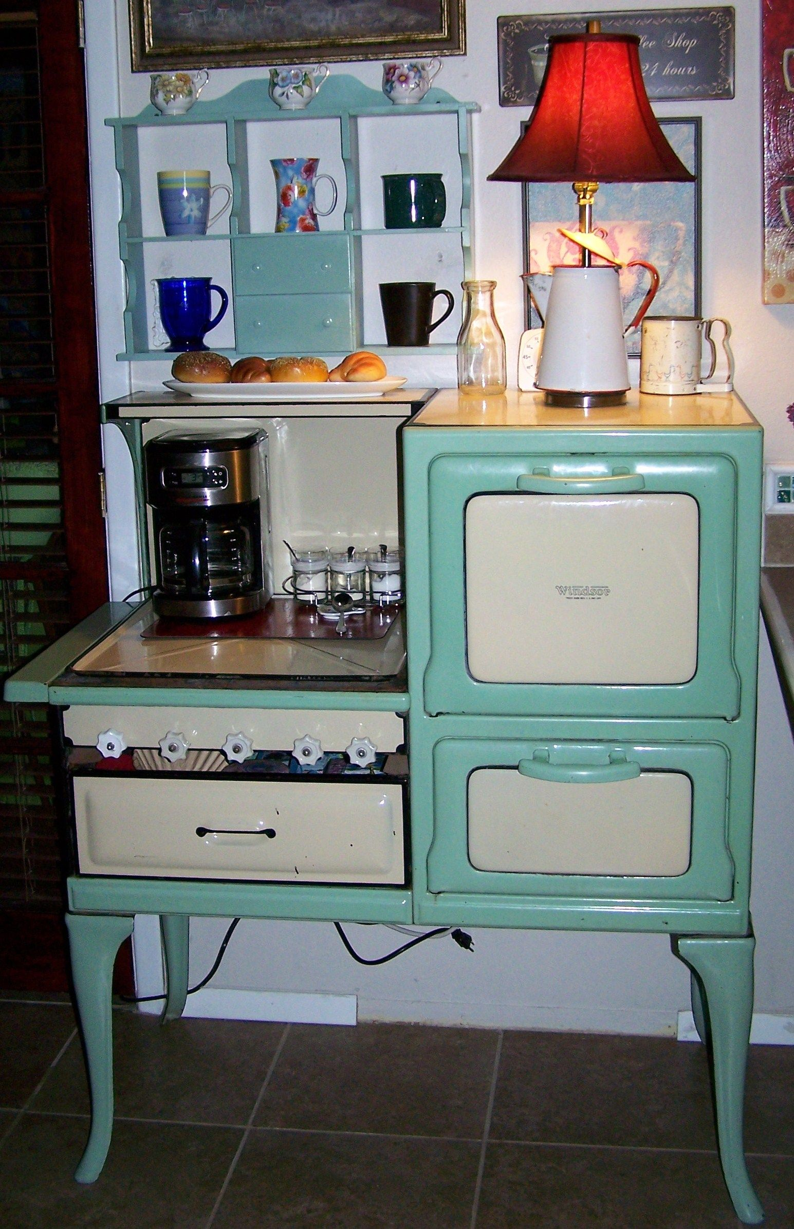 My New Coffee bar from a vintage Windsor Stove! My husband fashioned ...