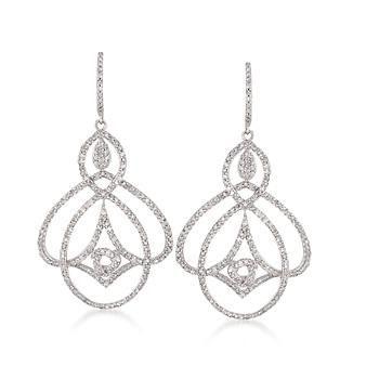 1.55 ct. t.w. Diamond Openwork Earrings In 14kt White Gold