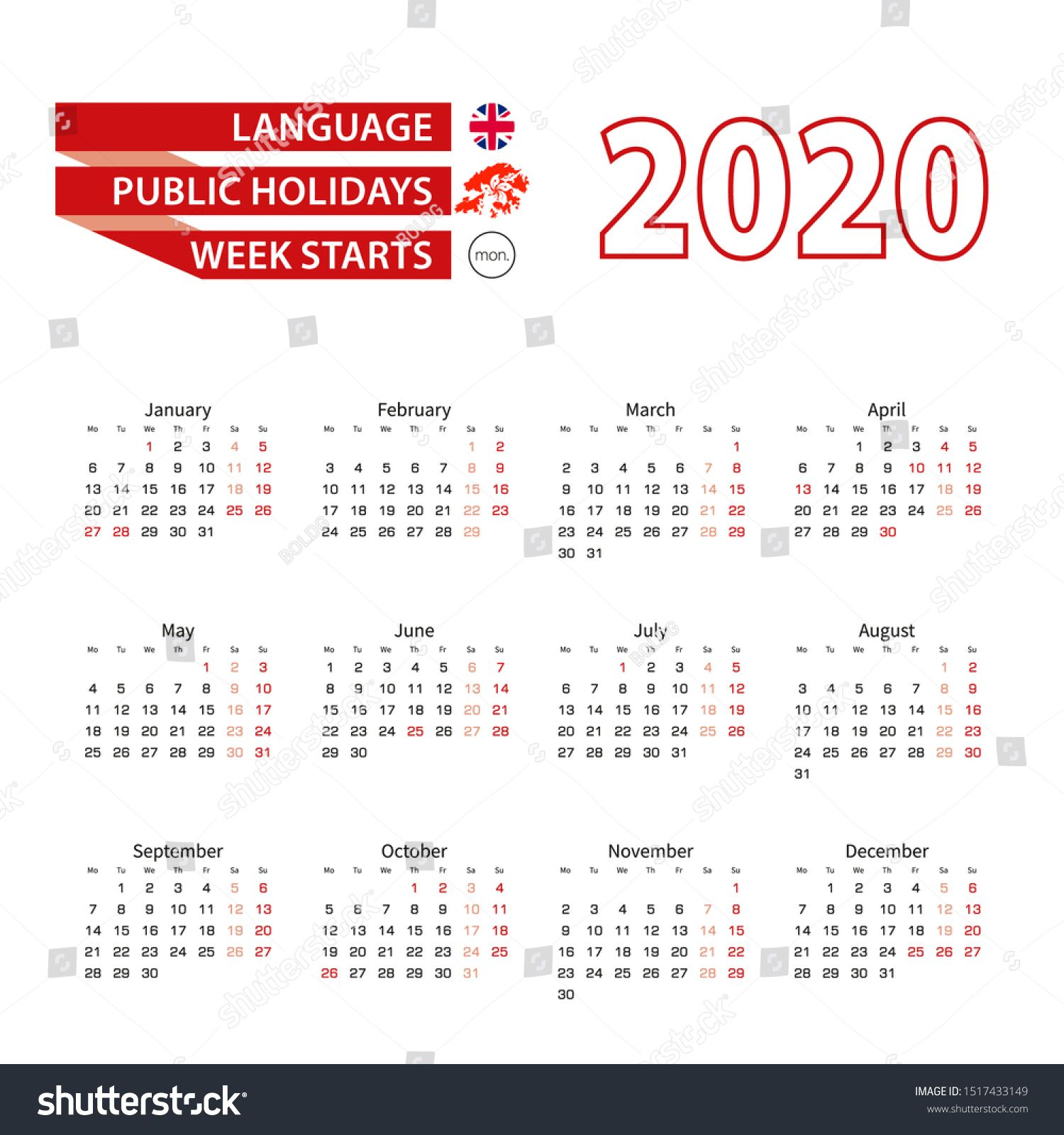 Calendar 2020 In English Language With Public Holidays The