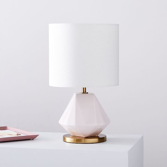 Faceted Porcelain Table Lamp Small Blush Set Of 2 Table Lamp Lamp Modern Table Lamp