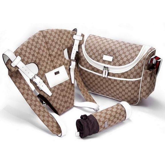 b6513717f1ec Gucci Baby Set Diaper Bag With Baby Carrier, Bottle Holder White gucci