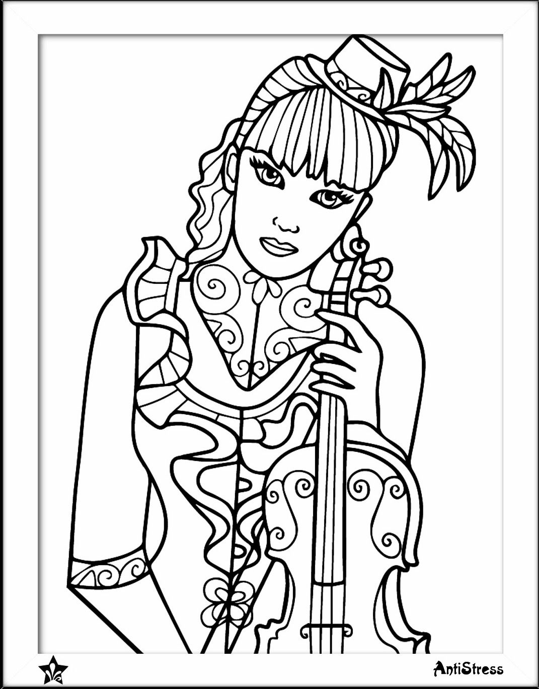 Girl With Violin Coloring Page Adult Coloring Pages Coloring