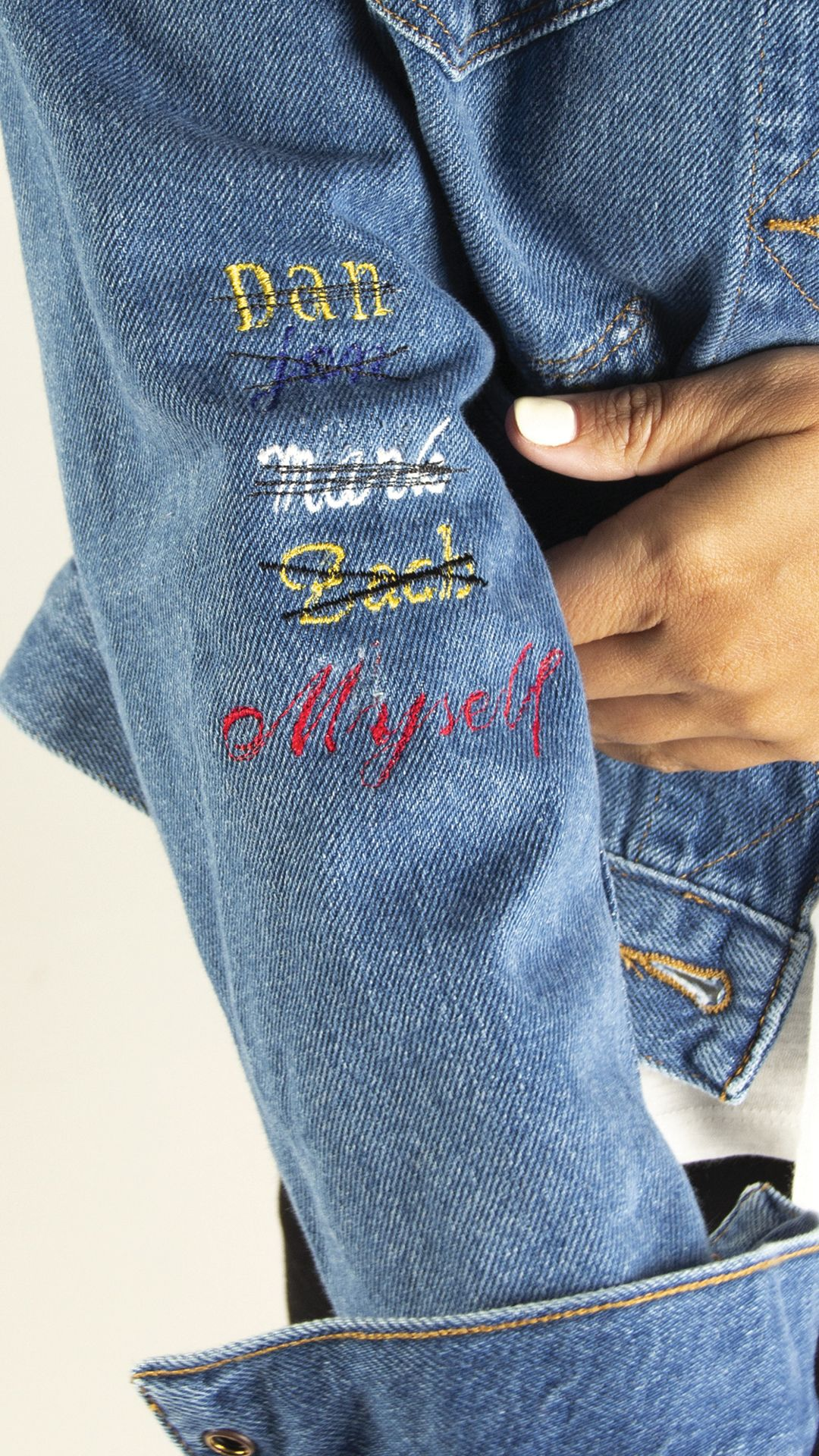Embroidered jean jacket denim self love brand name