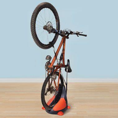 The Space Saving Upright Bike Stand Hammacher Schlemmer Bike