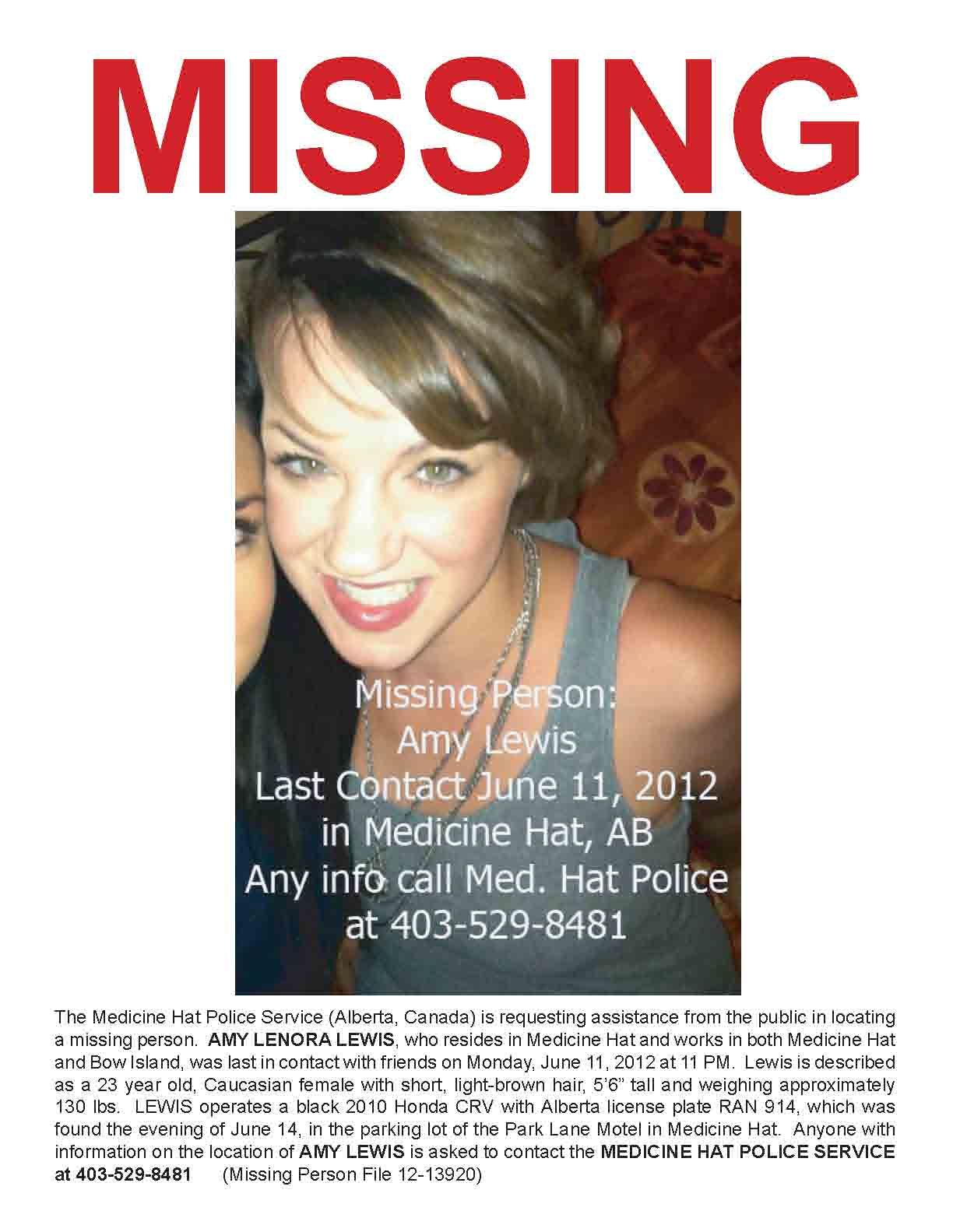 MISSING PERSON! AMY LEWIS, 23 year old, Caucasian female