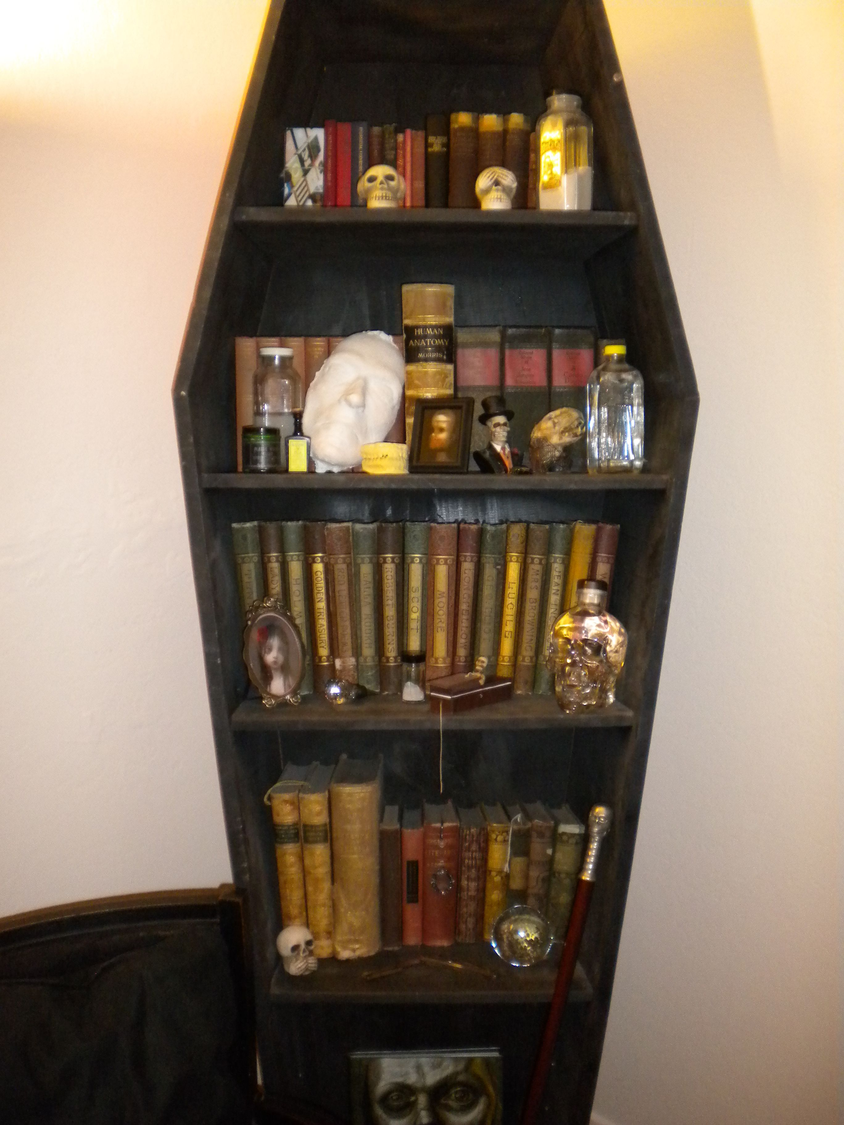 Coffin Bookcase Make Old Looking Books With Spells And Potions