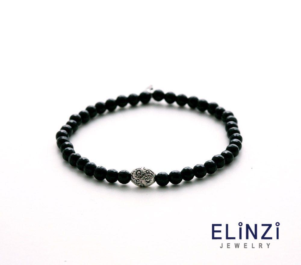 luxury cutting onyx silver bracelet / onyx, beads, silver, bracelet by ELINZIjewelry on Etsy