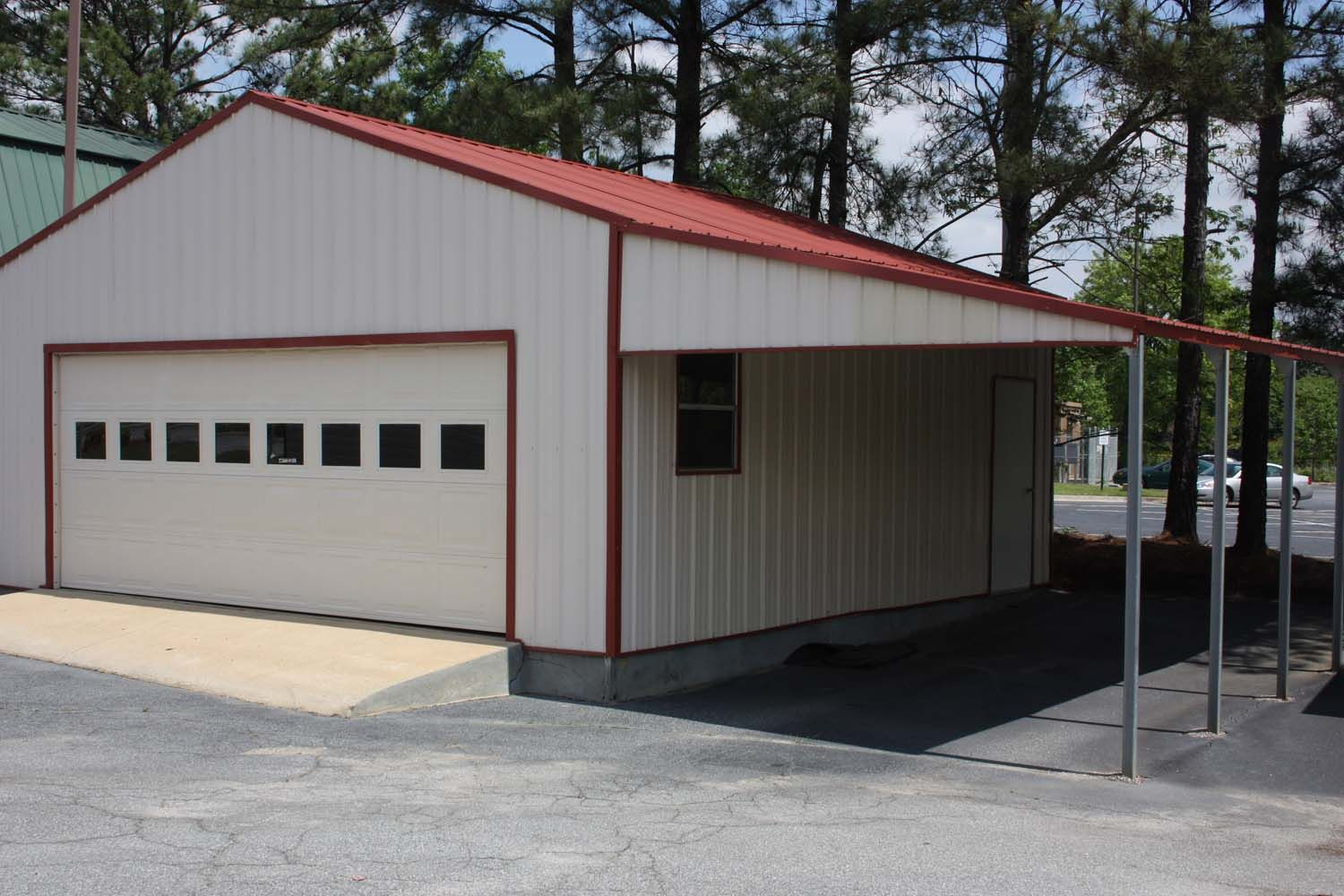 Steel structure garage with lean to carport attachment 2 for Carport with attached workshop