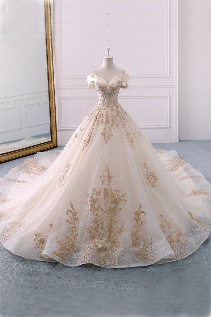 Gorgeous Off the Shoulder Ball Gown Wedding Dress, Long Appliques Bridal Dress N1528 – Simibridaldress #gorgeousgowns