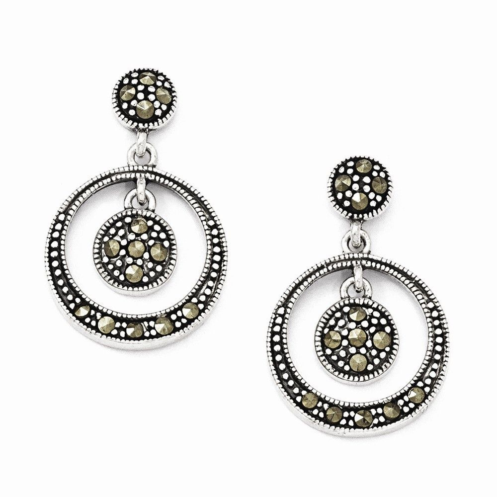 Sterling Silver Marcasite Circle Dangle Post Earrings