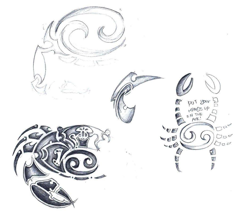 cancer zodiac sign tribal tattoo sketch by elenoosh on