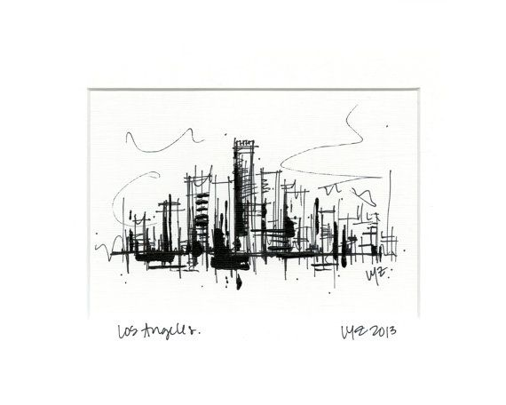 Los Angeles Skyline Black White Ink Sketch With Acrylic Paint Accent On Canvas Paper Ink Sketch Los Angeles Art White Ink