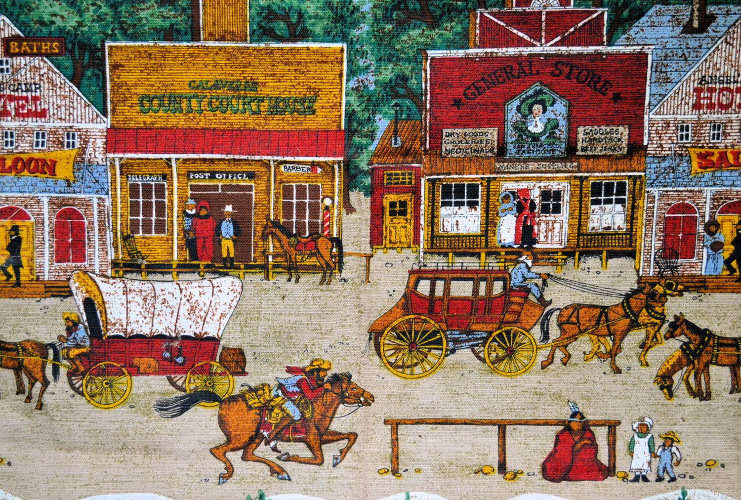 old west fabric town scene fabric calaveras county covered wagon