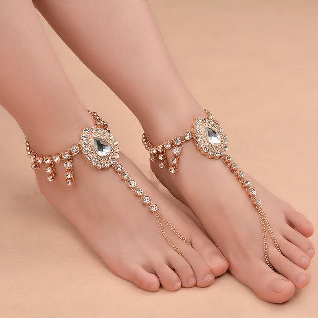 Bridal Barefoot Sandals Wedding Foot Jewelry Crystal Rhinestone