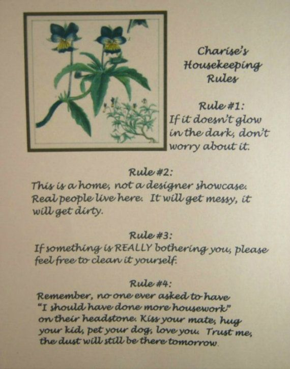 Housekeeping Rules Quote Poster Personalized by FireOfLife on Etsy, $4.00