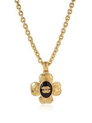 CHANEL Black Gripoix Clover Necklace