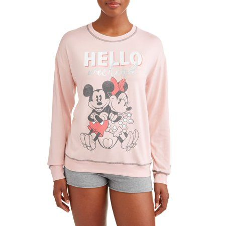 9a51ad548 DISNEY - Disney Women's and Women's Plus Mickey Mouse and Minnie Pajama  Sweatshirt Pink - Walmart.com
