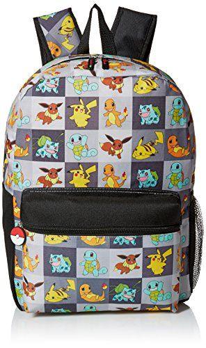 Official Pokemon Big Boys Backpack - allover print, 17 inch, back ...