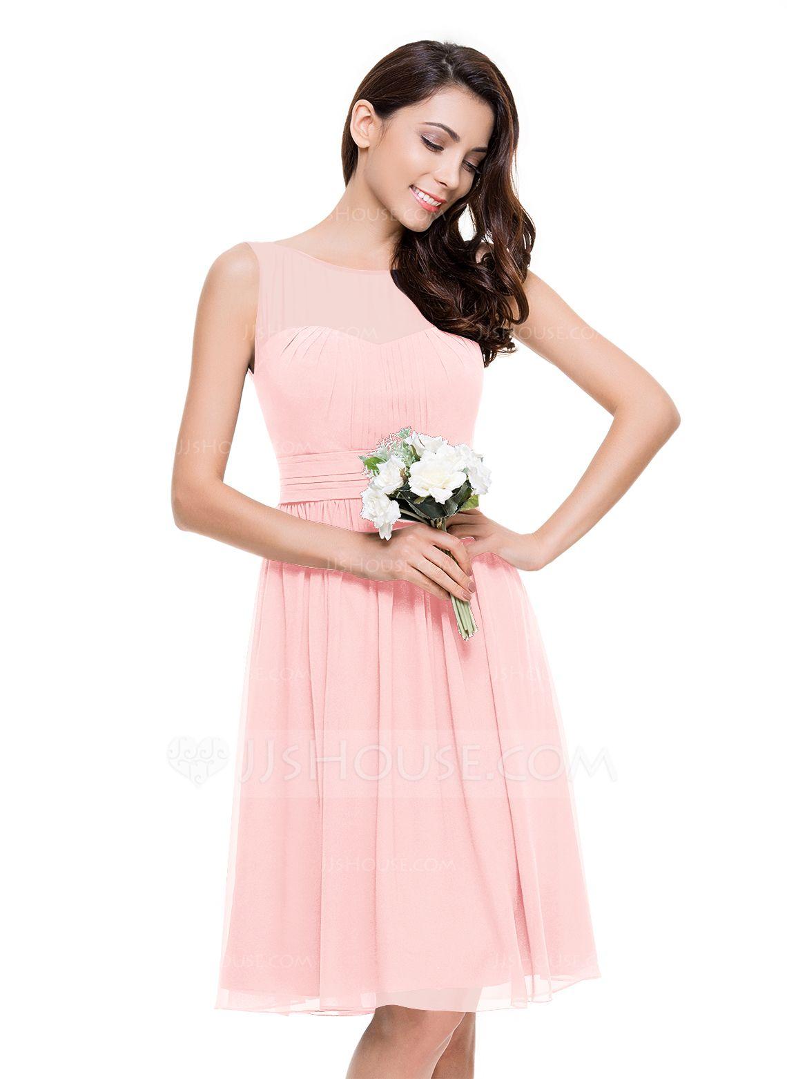 A-Line/Princess Scoop Neck Knee-Length Chiffon Bridesmaid Dress With ...