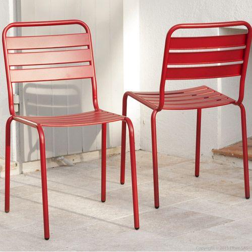 Chaise de jardin en métal (par 2) Hendaia rouge : Decoclico ...