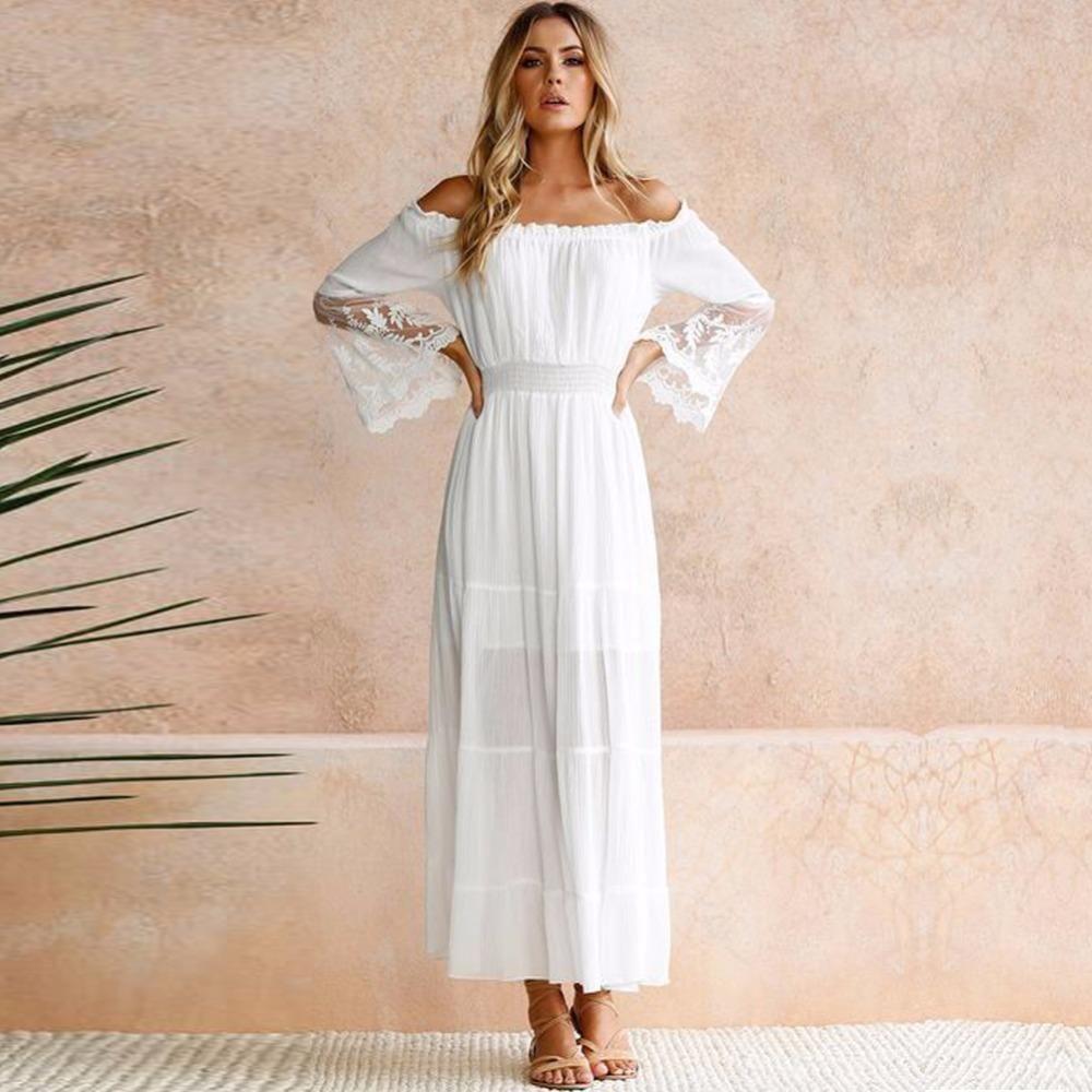 Summer Sundress Long in 2020 | Long sleeve boho maxi dress, Beach white  dress, Boho dresses long