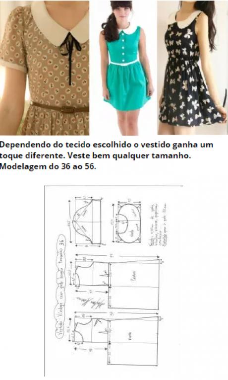 Vestido vintage com gola boneca – DIY – molde, corte e costura ...