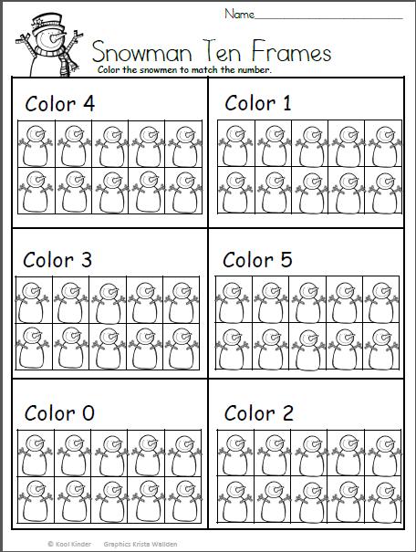 Color the Snowman Math For Kindergarten | Mesas