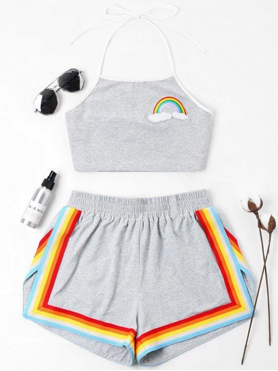 Summer Patch Rainbow Flat Elastic High Sleeveless Halter Regular Casual Casual and Going Rainbow Patched Halter Shorts Set