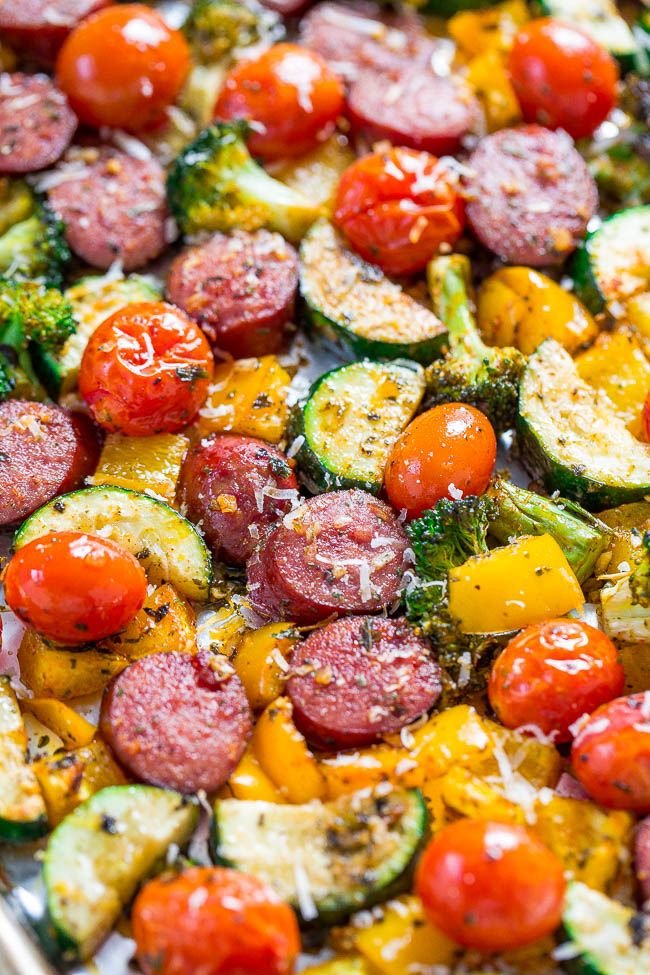 Sheet Pan Sausage Dinner with Vegetables - Averie Cooks