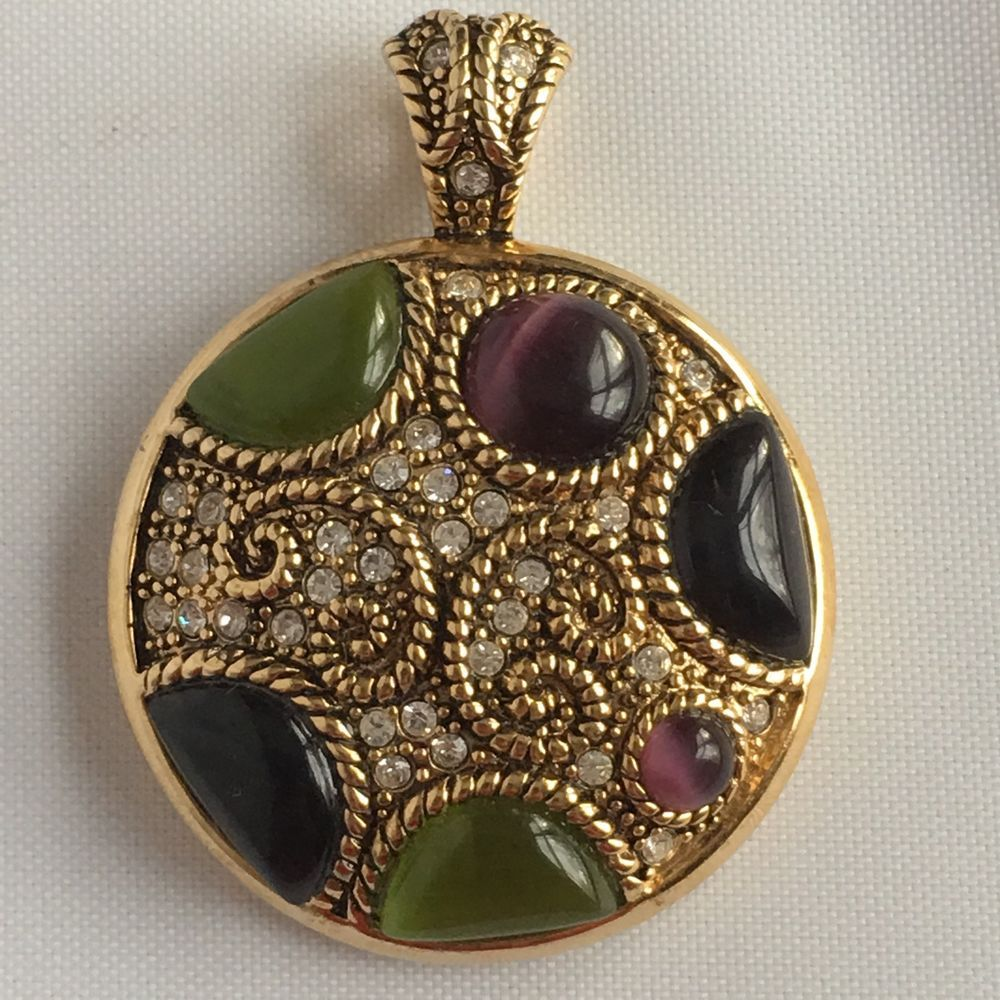 Lia sophia pendent for necklace purple green glass and crystals gold lia sophia pendent for necklace purple green glass and crystals gold tone round aloadofball Image collections
