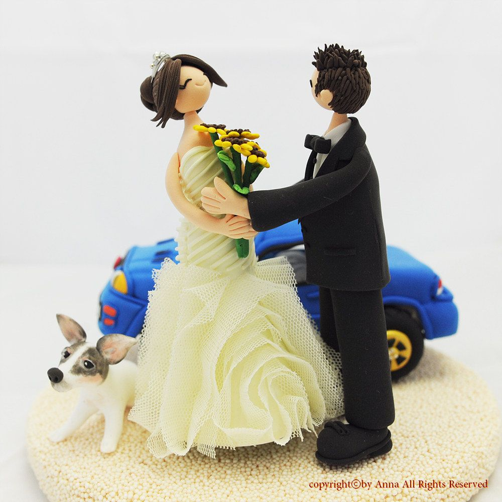 Couple with favorite car custom wedding cake topper keepsake ...