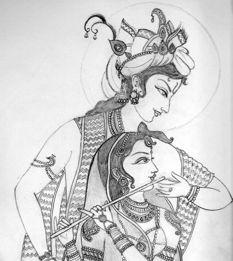 Line Art Radha Krishna : Radha krishna drawing sketches and paintings