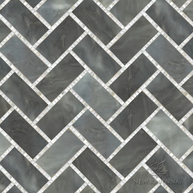 Puccini A Hand Cut Stone Mosaic Shown In Honed Greystoke And Polished Calacatta