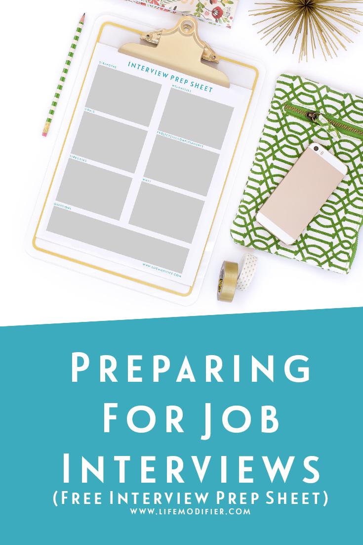 preparing for job interviews free interview prep sheet wwwlifemodifiercom