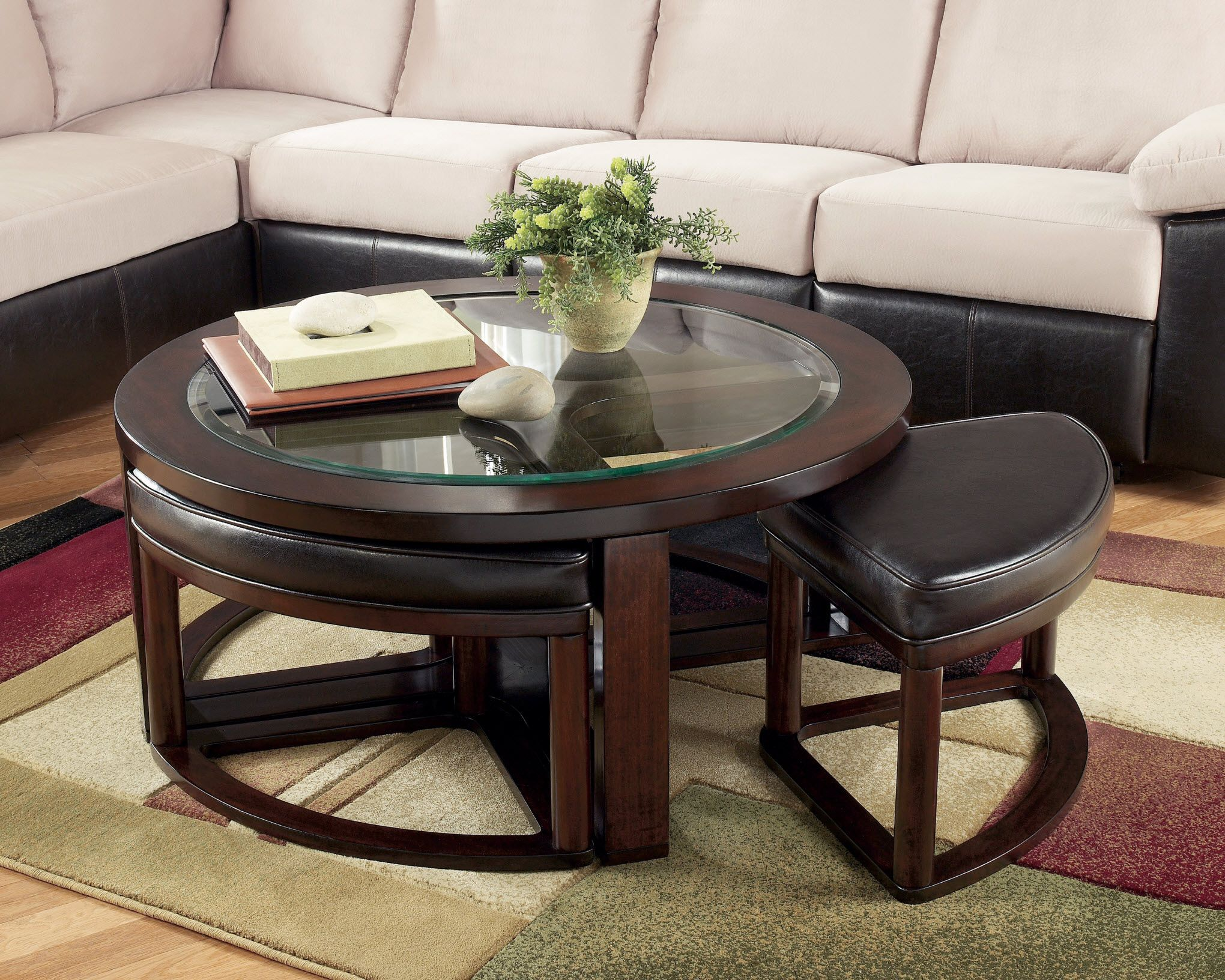 Marion Round Coffee Table With Stools With Images Coffee Table