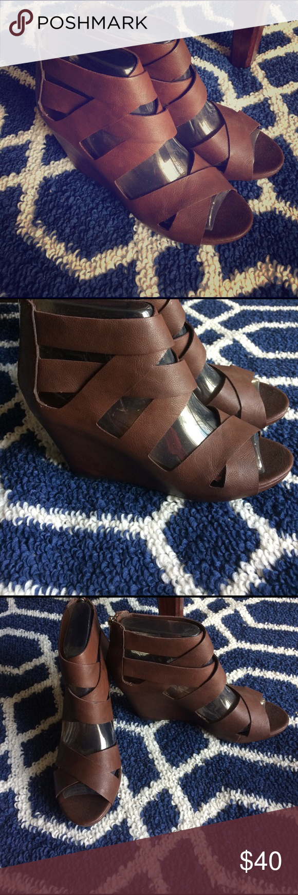 New Direction Lola Gladiator Wedges - Dark Brown BRAND NEW. The perfect wedge for the summer. Made of synthetic fiber with a heel height of 3 1/2 inches and are a size 8.5M. They have a full zip back.  Sexy and trendy they would pair well with any outfit, casual or dressy. new directions Shoes Wedges