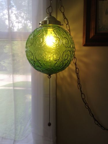 Vintage Mid Century Beautiful Green Glass Swag Lamp Retro Hanging