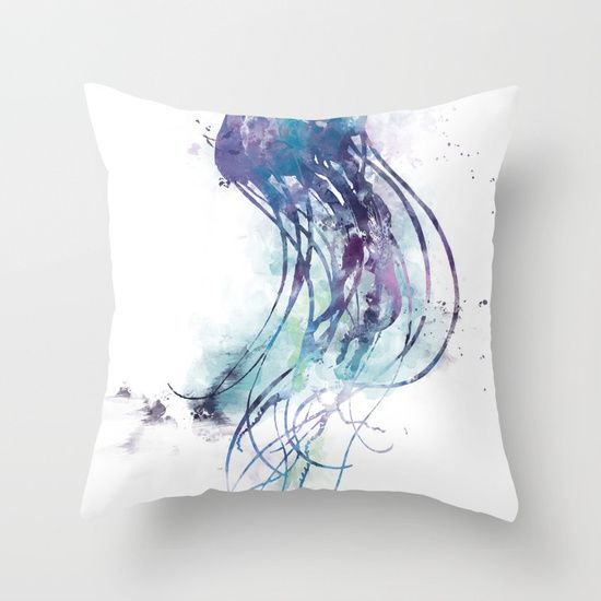 Jellyfish Throw Pillow By Monnprint Jellyfish Fish Blue Seacreature Throwpillow Couch Throw Pillows Throw Pillows Pillows