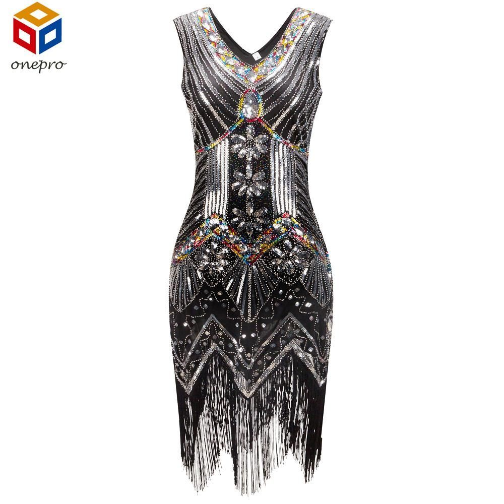 1920s Great Gatsby VINTAGE LOOK Dress Sequin Beading V Neck Tassel Flapper  Dress S-XXL 4b58f6771f7c