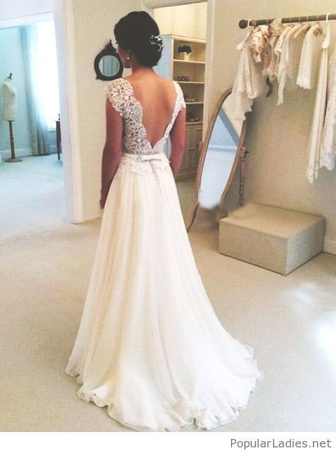 64136b2c4 Amazing A-line wedding dress with lace backless
