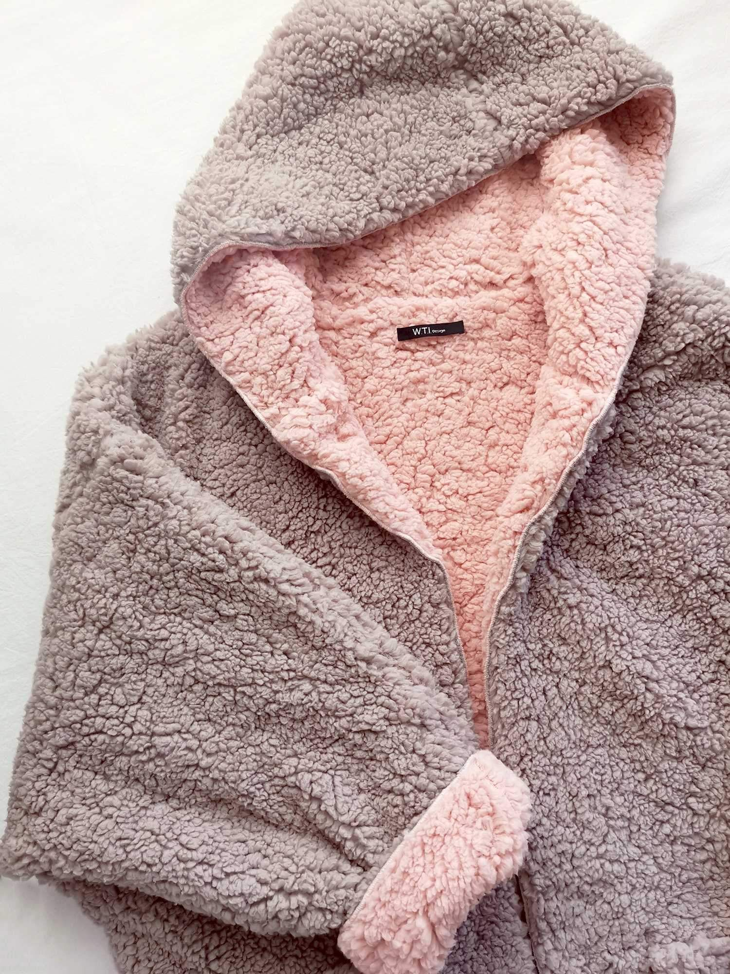 Reversible Oversized Soft Fuzzy Hoodie Coat W T I Design Fluffy Jacket Outfit Fuzzy Hoodie Fluffy Jacket [ 2000 x 1500 Pixel ]