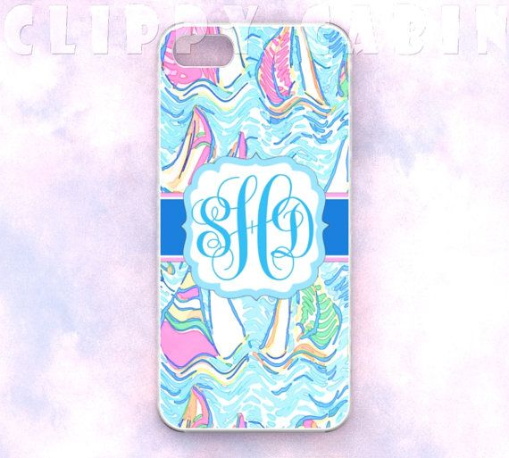 Handmade Custom Monogram iPhone Case: Sail Boats Sailboats Sailing On the Blue Pattern (For iPhone 4, 4s, 5, 5s, 5c, and iPod Touch 4G, 5G) on Etsy, $16.99