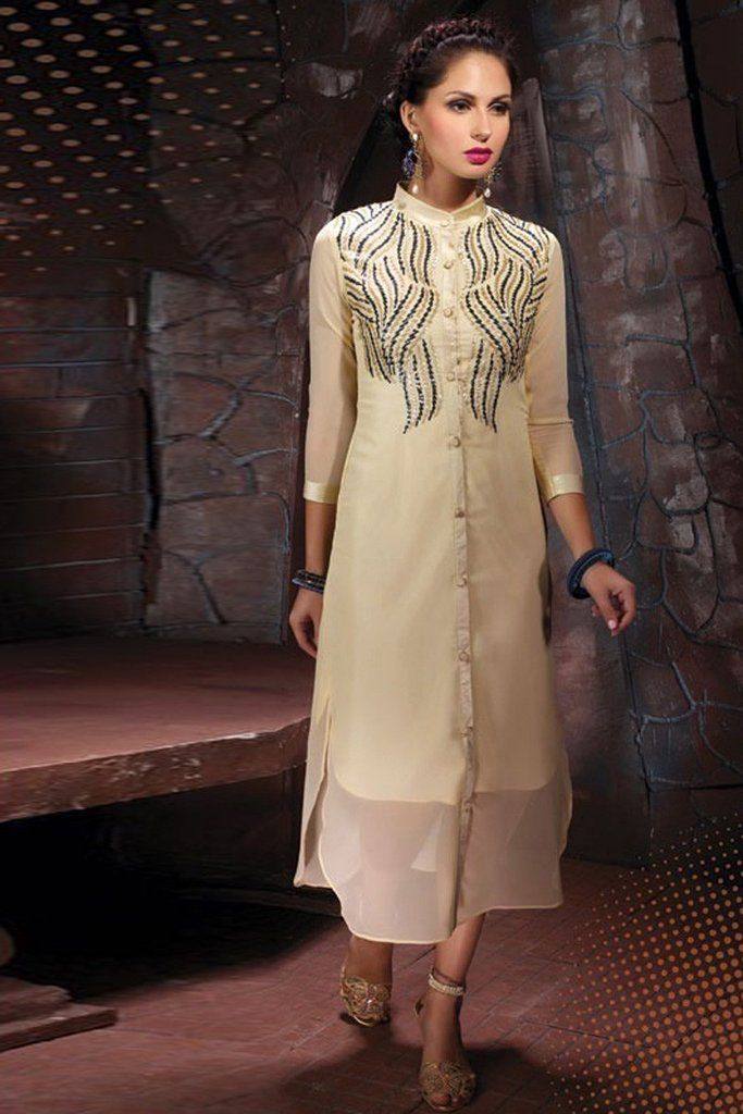 820cbe400d0 Get a trend setter look on you next weekend party or function by cladding into  this marvelous cream color party wear designer kurti.