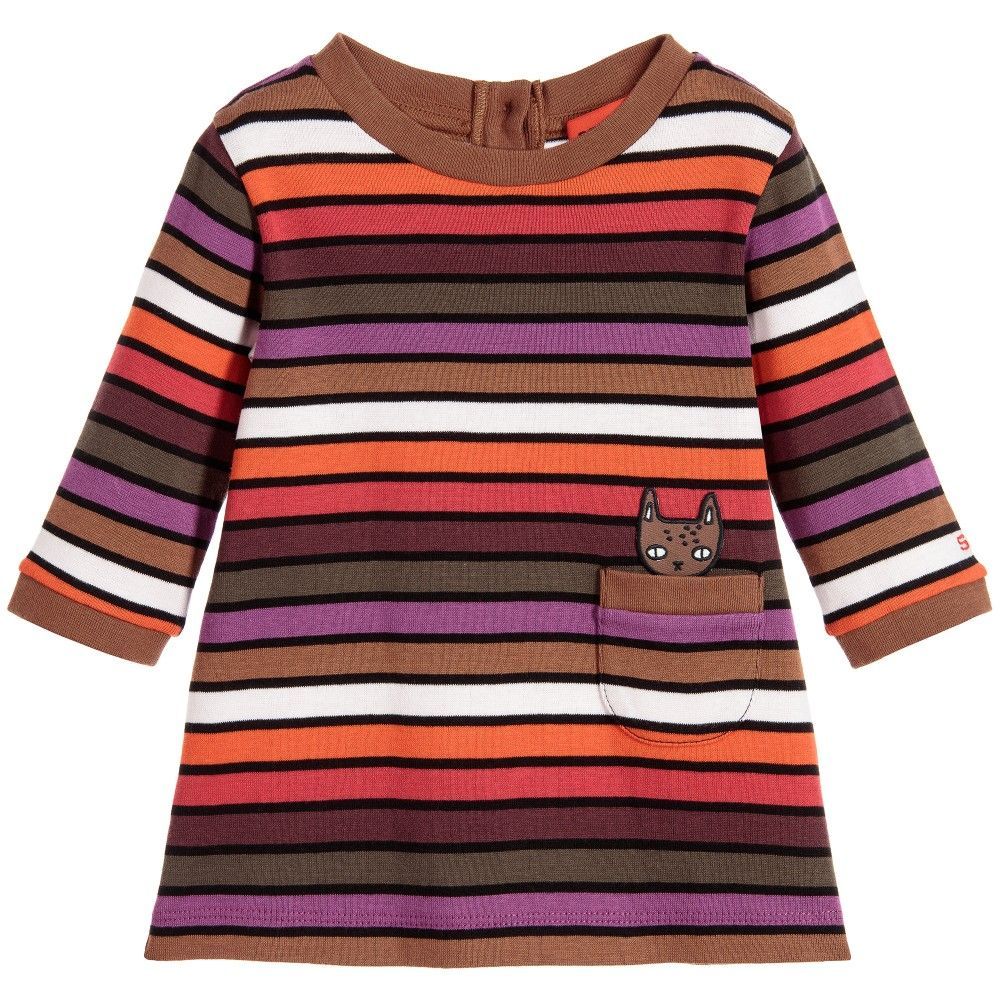 283811e3e7a Sonia Rykiel Paris Baby Girls Stripy Cotton Cat Dress   Knickers at  Childrensalon.com