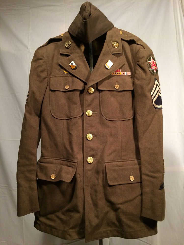 Vtg WW2 U S Army 1944 Military Dress Jacket with Patches Bars  Pins Wool  36R Hat  8a188d8b935