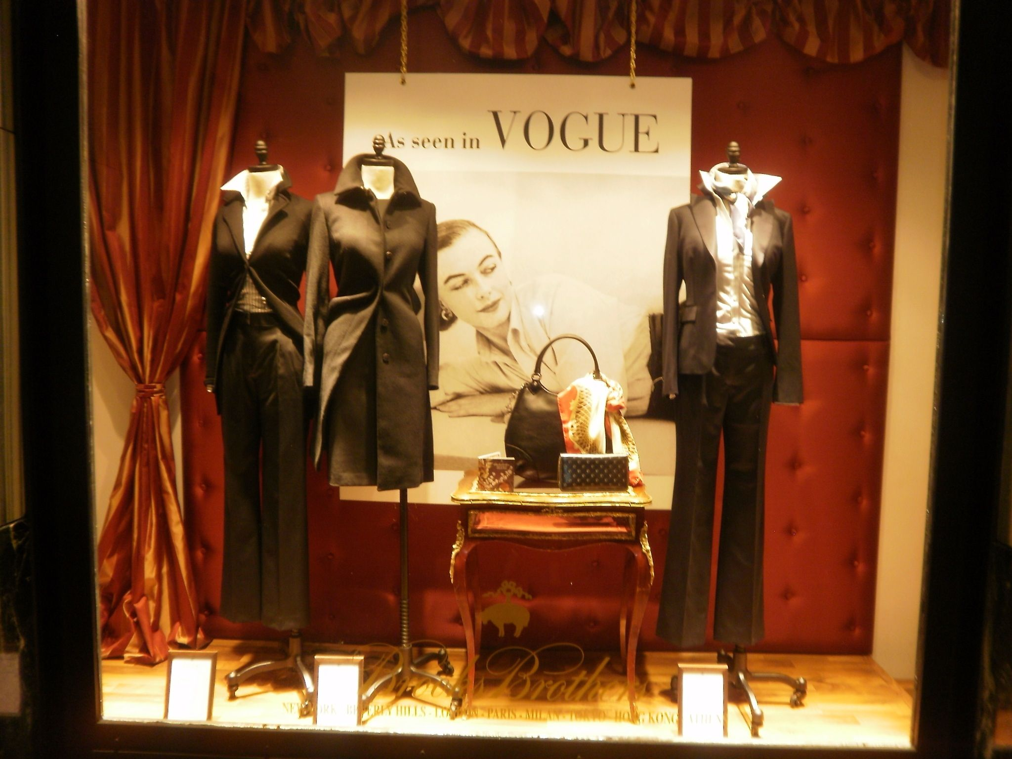 Women window display at Brooks Brothers Stadiou boutique Athens Greece
