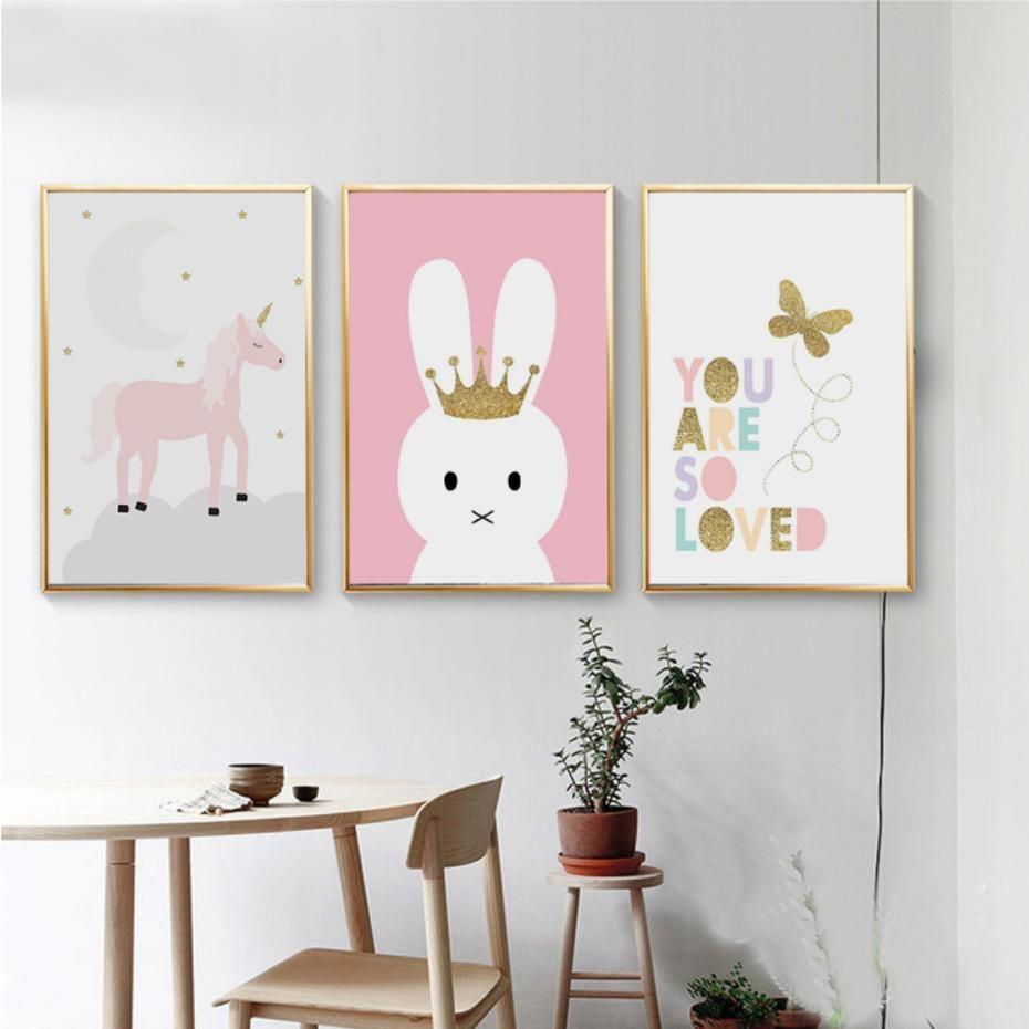 Cartoon unicorn butterfly canvas paintings nursery wall art posters