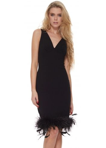 The Little Black Dress Audrey Dress With Feather Boa Hem My